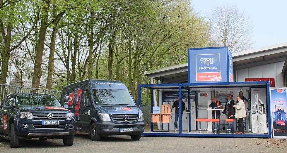 GROHE Work Smarter Tour - Modell: Urban Legend / Ausstattung: Erweiterung der Präsentationsfläche, Produkt-Wand, Touch-Screens / Kunde: GROHE Deutschland Vertriebs GmbH